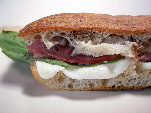 (viadesertculinary) Mozzarella, Ham and Basil Panini