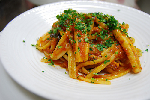 (via Casa dell'Albero) Linguini with calamari tomato sauce