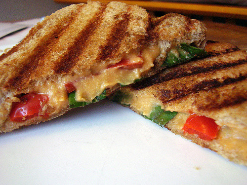 (via becca elouise) Cheese, fresh basil, roasted red peppers panini