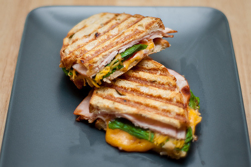 (via iclang) Turkey, cheddar, spinach and tomatoes on olive oil and rosemary bread.