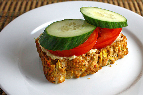 (via StrawMan3125) Zucchini Bread with Roasted Red Peppers and Feta with Hummus, Tomatoes and Cucumber