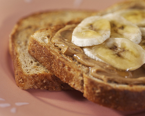(via TiffanyDawnPhoto) Toasted wheat with peanut butter, honey, and banana.