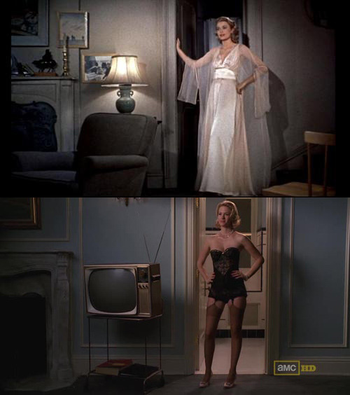 suicideblonde:  I noticed something familar in the screencap from Rear Window that skytops put up earlier today… I think that this shot from Mad Men, with Betty's Grace Kelly influence, was intentional.