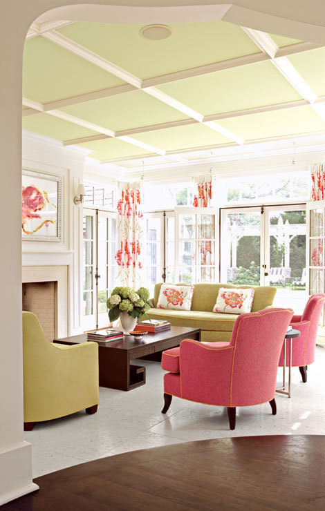 Alpeter House by Debra Martinson I adore the pale green coffered ceiling!