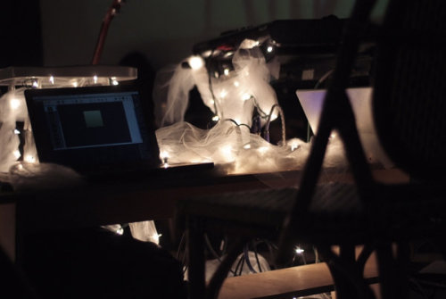 Laptop, fairy lights, & tulle. Monkeytown Residency - Brooklyn, NY, Fall 2007. Photo by Adrian Nina.