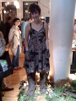 meghanasha:  Here's my favorite accessory at NYU's ITP Spring Show: ROOT BOOTS! These little tree stumps are 'meditation boots' that create a lovely humming sound when you stand still and an unpleasant sound when you move. I hope they make a kids version to train those rowdy ones to stay in one place. AWESOME CONCEPT! If you'd like more info click here.