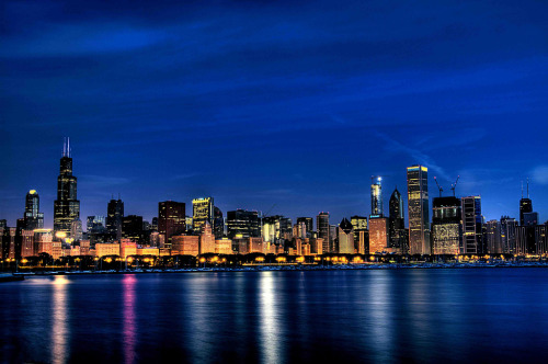 Chicago just before sunrise