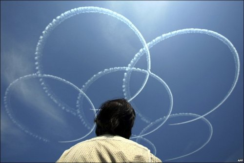 Japanese war planes perform aerobatics during celebrations marking the 150th anniversary of the opening of the port of Yokohama: BBC News: Day in pictures.