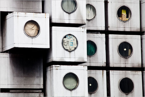 Jim O'Connell's photo of Kisho Kurokawa's Nagakin Capsule Hotel, from a story in the NYT about its pending demolition.