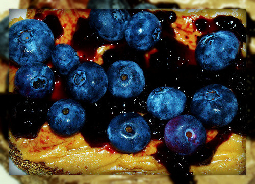 Toasted Bread topped with Peanut Butter, Gourmet Blueberry Jam & Fresh Blueberries (via missalle*M*)