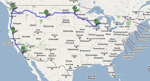 Here was the final route.  3,129 miles completed in about 5½ days, averaging about 10½ hours a day and loving every second of it.  I wasn't bored once and I could have done it with my phone turned off.  I have no idea where I'll be next summer but I'll be sure to take the long way there.