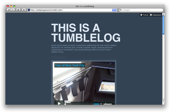 This is a tumblelog