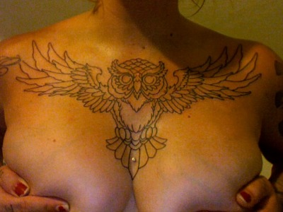 bodypiercings:  hennypotter:  carlovely:  sweet hooter (i just got the outline tonight, still needs shading, color & background fill) i fucking love it, my boss rules. good day at work.  LADY! BOOBIES BOOBIES AND LEGITTTT CHESTPIECE!! SPECTACULAR SPECTACULAR!