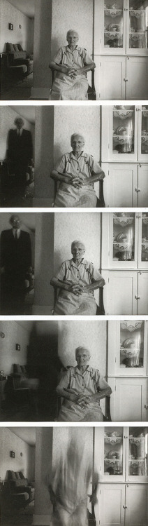 Death Comes to the Old Lady / a b&w fotograf by Duane Michals, 1969