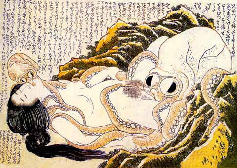 The Dream of the Fisherman's Wife is an erotic woodcut made around 1820 by the Japanese artist Hokusai.  A shot of the work printed on a postcard that is being looked at by Anaïs Nin at the beginning of the 1990 film Henry & June earned the movie the very first NC-17 film rating. The significance of the absence of men in fishermen's villages is also testified to by the fact that the first dildos were found in fishermen's villages. (via)