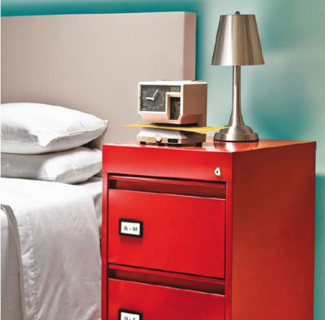 Thinking Outside the Box: Bedside Table Alternatives (via apartment therapy)  yessss, I would like to repurpose a filing cabinet…