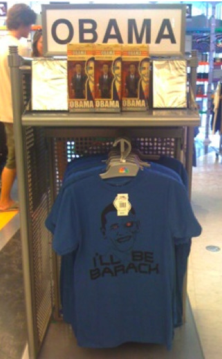 The NBC Experience store in Manhattan is selling Obama tee-shirts and action figures, and causing somewhat of a stir. Much is being made about the Barack Obama merchandise on sale at the NBC Experience store in Manhattan and on the store's Web site. So we decided to head up to 30 Rock to see what the fuss was all about. First the backstory. Last week, Joe Luppino-Esposito, a blogger who calls himself 'Newark Young Conservative Examiner' wrote about how the retail store at NBC's Rockefeller Center headquarters has been selling the merchandise. Earlier this week, Maxim Lott of FoxNews.com started asking around about the ethics of a company that owns a national news network and cable news channel selling merchandise featuring the president. more at TVNewser