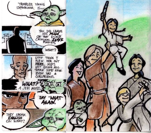 It's gonna be okay, part 3: a single grownup on the Jedi High Council This was actually two lunch bags; I scanned them so you could read all the yakety-yak.