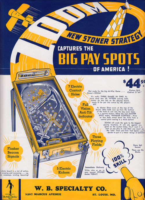 1935 pinball flyer. New Stoner Strategy. (via)