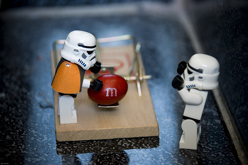 """No Sarge! Stop! It's a trap!""…… ""But.. I luv M&M's.. I can haz?"" (via im.mick)"