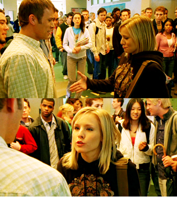 "Veronica Mars marathon going on right now. This scene defines why Veronica is my hero. fuckyeahtvpicspam:  Veronica: Well, I want to congratulate you. Shake your hand. Congratulations! You've been named the world's biggest cockroach. This award is given in recognition of your unparalleled lack of decency and humanity. Bravo! You're gonna die friendless and alone.Lenny: Hey, everybody knows you're the biggest —Veronica: Shut up! If I want you to speak, I'll wave a snausage over your nose. If you use Mandy again to try to convince yourself that you're not a loser, I will ruin your life — got it? You got it?  Veronica Mars 1.19 - ""Hot Dogs"" (via starrystairs)   (via formerlypikitis)"