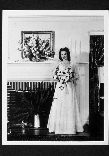 ilikeoldthings:  Marilyn Monroe wedding photo.