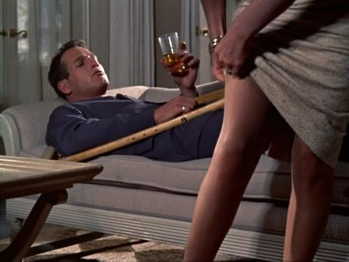 Cat on a Hot Tin Roof, summarized in one screencap (1958, dir. Richard Brooks, starring Paul Newman & Elizabeth Taylor)