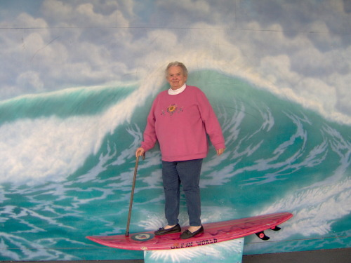 Shortly after being named the Treasurer of Ocean World Surf Club, Muriel and her vice-treasurer, Geraldine, invented a new shortboarding technique - cane surfing. Cane surfing enthusiasts enjoy the extra balance the cane provides. Variations on the sport include team cane surfing, in which the surfers (or caners, as they're refered to in most regions) attempt to knock one another into the sea by smacking an opponent in the back of the knees. Scandal arose when Herbert Finkleman snuck a sword cane into competition and caused Stu Howell minor blood loss. Cane surfing competitions are much more structured to prevent such future catastrophes.