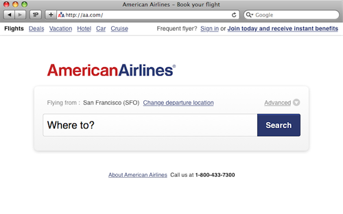 "thijsjacobs:  What if American Airlines' website had been designed by Google; would it work? I don't know, which is why I tried designing how a ""Googlified"" AA.com would look like (always the best way to find out, if something works or not). It doesn't take a usability genius to know, that there is a lot wrong with today's flight companies' websites and American Airlines is no exception.  I'm really digging this idea, a ""Googlified"" AA.com. It's amazing how many people think the internet ""starts"" with Google."