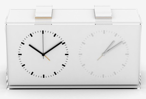 "Kit Men have created a new dual-time alarm clock for Hong Kong manufacturer M.N.S., the Home Away is a dual-time alarm clock that ""explores how people's perception can be diverted into an everyday product"" (via)"