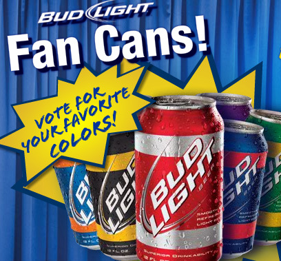 Bud Light Fan Cans. Now you can color coordinate your Bud Light too.