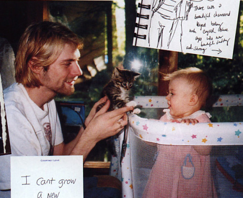 annahatesbananas: Kurt Cobain, kitty, and Frances Bean Cobain