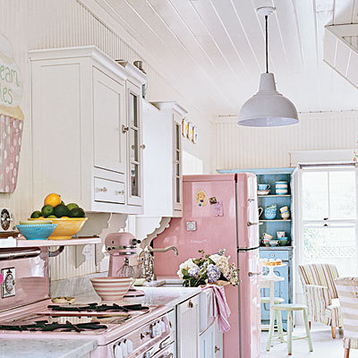 Decorate a Kitchen With Pinks and Pastels - Kitchens - Total Beach House - Photos - CoastalLiving.com I am dying inside knowing that my kitchen does not look like this. AMAZING… AMAZING! A pink fridge!? Oh my goodness gracious, yes one thousand times over!!