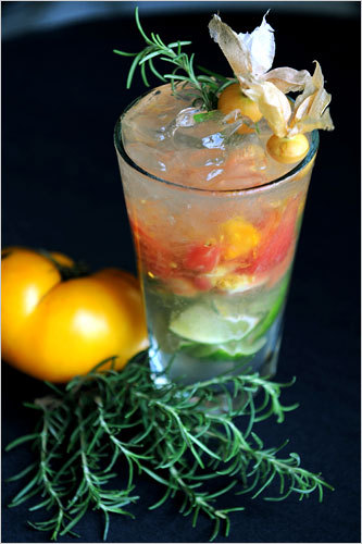 Hello, heirloom tomato mojitonico. Aren't you a looker. Even I, who generally does not care for raw tomatoes, will take two of you on a front porch and another hot Saturday, please. Who's with me? Ingredients1/2 lime, cut into sectionsKosher salt and freshly ground black pepper1/2 cup heirloom tomatoes, roughly chopped1/4 cup fresh herbs (like basil, tarragon, thyme, chives or mint) loosely packed and not chopped1 1/2 ounces gin2 ounces tonic water, or to taste.DirectionsRim a 16-ounce glass by moistening the edge with a lime wedge, then dipping the glass into a small plate filled with equal parts salt and pepper. Into the same glass add the tomatoes, herbs and lime sections, then muddle, gently, until the mixture is equal parts juice and solids. Add ice, stir, then add the gin, and stir again. Top with the tonic water.