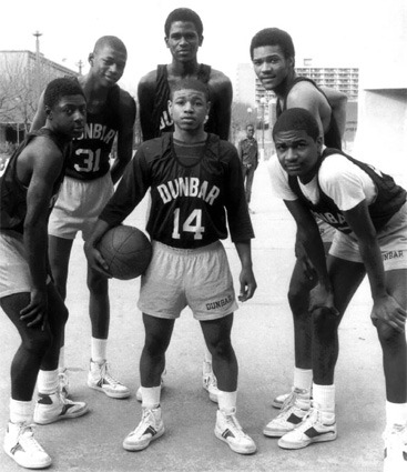 thankyoukurtrambis: Dunbar High School. At one point featured future NBAers Muggsy Bogues (14), Reggie Lewis (31), Reggie Williams (back center) and David Wingate. That team went 31-0 and was named the #1 high school team in the country. Other noteworthy Dunbar High alumn: Sam Cassell, Tupac Shakur*, and Prop Joe. *Pac only attended for one year. He then transferred to the Baltimore School for the Arts where he met one of his closest friends and star of annoying TNT commercials, Jada Pinkett Smith.
