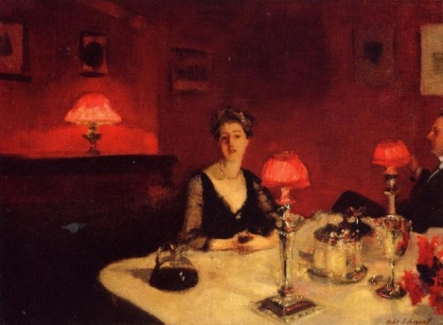 John Singer Sargent, A Dinner Table at Night, 1884. via