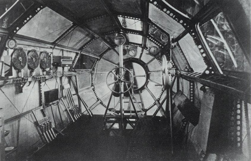 inside the gondola of the R80 airship, first flown in 1921