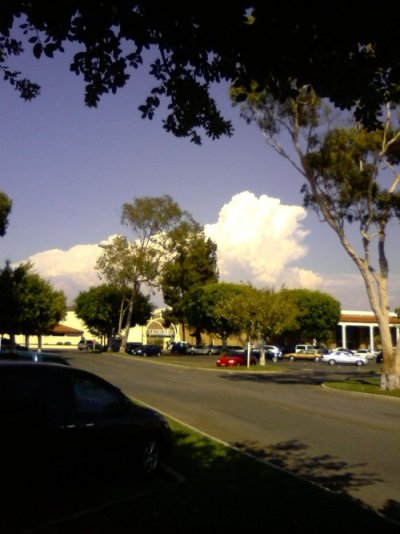 Smoke seen all the way from Laguna Hills:   I've never seen smoke like that.  It's so white and there's so much of it.  We're miles and miles away, but there it is.