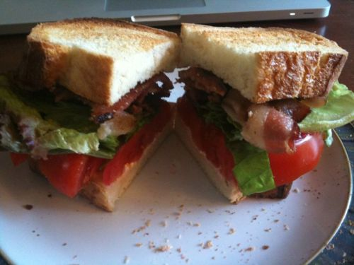 A tasty end of summer BLT. Toasted Italian Bread, mayo, Niman Ranch Applewood Smoked Bacon, fresh tomatoes, basil, and red leaf lettuce.