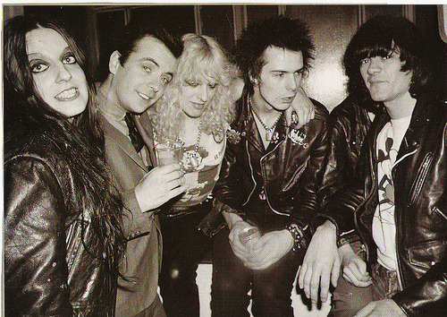Nancy and Sid (in the middle) with Dee Dee Ramone (on the right)