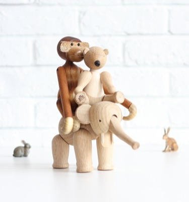 I have always loved these little wooden animals from Enfant Terrible…the elephant, bear and monkey, a classic trio designed by Rosendahl.