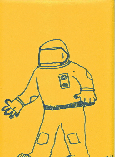 This is my attempt at drawing a Astronaut from memory. I apparently remember NASA using sweat suits and motorcycle helmets for spacesuits.