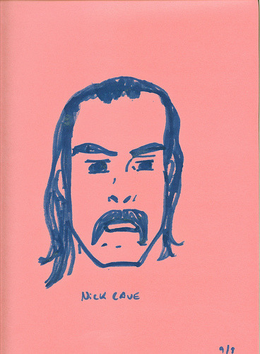 This is my attempt at drawing Nick Cave. I screwed up his eyes…along with the rest of his face I suppose. The Believer Magazine has an interview with Mr. Cave which got me thinking about him this afternoon.