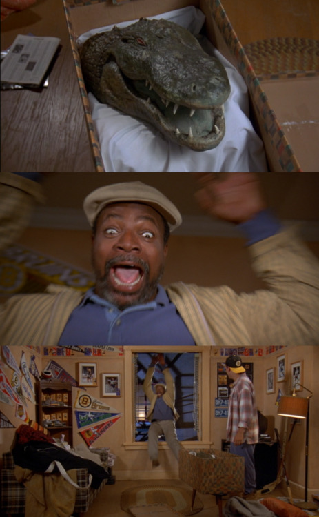 Happy: Remember the gator that got your hand? I got his head.Chubbs: AGHHHH!