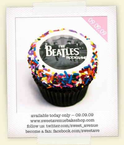 Sweet Avenue Bakeshop released a Beatles Cupcake to celebrate the release of the Beatles RockBand and the Beatles remastered album box sets. We love these cupcake making maniacs!