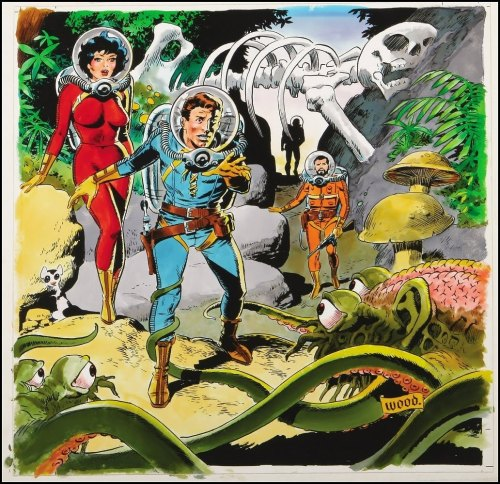 awoade:  mudwerks:  Golden Age Comic Book Stories Wally Wood Some stages of art for the 1979 Comic Book Price Guide!