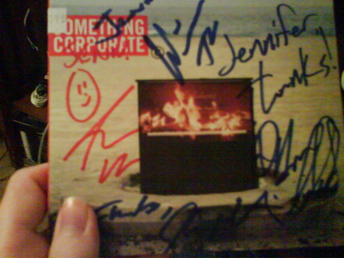 "alison89:  My copy of Audioboxer was signed by Something Corporate! I had no idea when I ordered it. My reaction? ""Holy frick.""  Wow, that's insane."