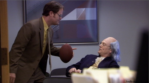 Dwight: I don't care what Jim says, that is not the real Ben Franklin.  I am 99% sure. 3x14 - Ben Franklin
