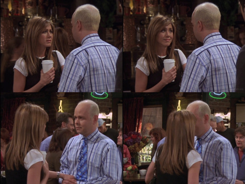 10x17 TOW The Last One Gunther: Rachel? Rachel: Yeah? Gunther: I… I know you're leaving tonight, but I just have to tell you. I love you. Gunther: I… I don't know if that changes your plans at all, but I thought you should know. Rachel: Gunther… Oh… I love you too. Probably not in the same way, but I do. And, and when I'm in a café, having coffee, or I see a man with hair brighter than the sun, I'll think of you. Aw.