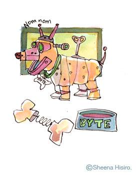 Byte. Ruff ruff.  It's Byte, the robot dog.  This little illustration was inspired from a doodle game, exquisite corpse.  You need at least two people to play.  Everyone starts a drawing and after a minute or two you swap drawings and add stuff to the picture the other person drew.  Then after a minute or two, you pass the paper back, and so on.  I really like it; it's a great way to get the creative juices flowing.